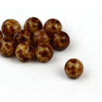 Brown Swirl Czech Glass Beads, 6mm Round