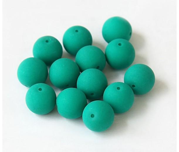 Dark Neon Emerald Green Czech Glass Beads, 10mm Round, Pack of 25