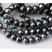 Silvery Grey Metallic Pearl Czech Glass Beads, 8mm Snail Shell, Pack of 25