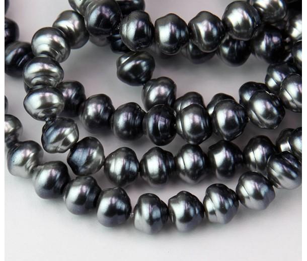 Silvery Grey Metallic Pearl Czech Glass Beads, 8mm Snail Shell, Pack of 25