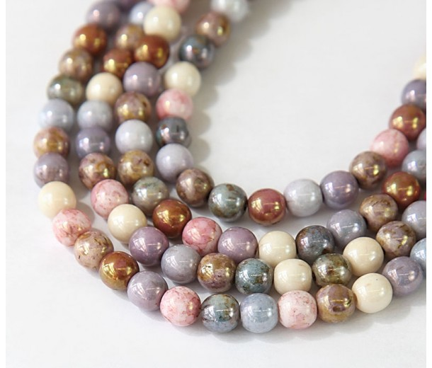 Opaque Luster Mix Czech Glass Beads, 6mm Round