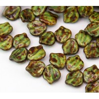 Opaque Yellow Jet Picasso Czech Glass Beads, 12x15mm Wavy Leaf, Pack of 10