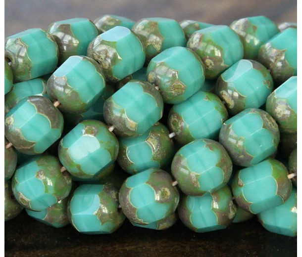 Opaque Turquoise Picasso Czech Glass Beads, 8mm Renaissance