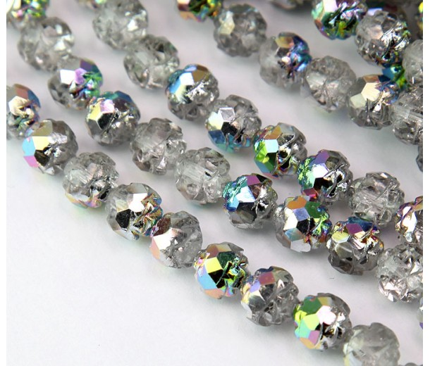Crystal Vitrail Czech Glass Beads, 8mm Rosebud
