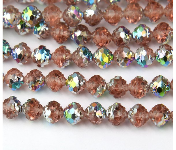 Rosaline Vitrail Czech Glass Beads, 8mm Rosebud