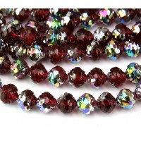 Fuchsia Red Vitrail Czech Glass Beads, 8mm Rosebud