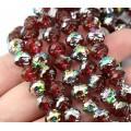 Fuchsia Red Vitrail Czech Glass Beads, 8mm Rosebud