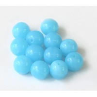 Opaque Powder Blue Czech Glass Beads, 10mm Round, Pack of 25