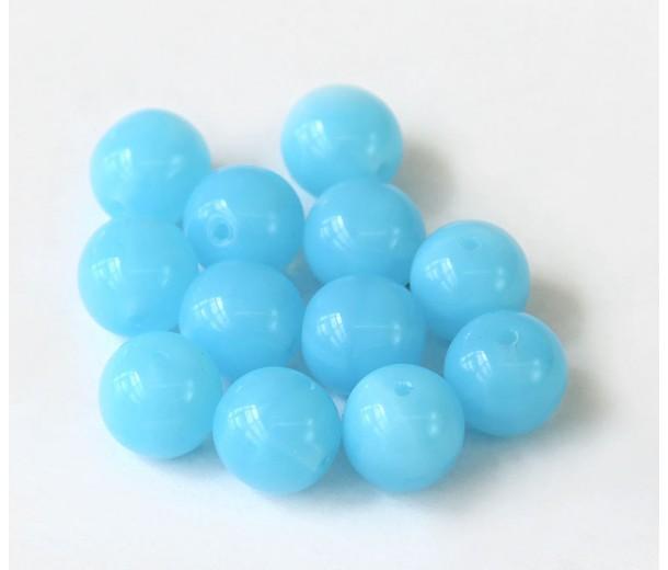 Milky Powder Blue Czech Glass Beads, 10mm Round, Pack of 25