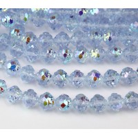 Light Sapphire AB Czech Glass Beads, 8mm Rosebud