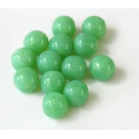 Opaque Jade Green Czech Glass Beads, 10mm Round, Pack of 25