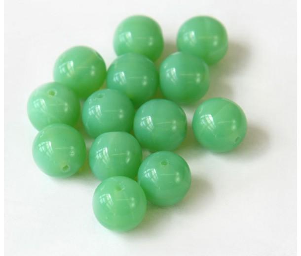 Opaque Jade Green Czech Glass Beads, 10mm Round, Pack of 25