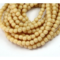 Opaque Light Beige Czech Glass Beads, 4mm Round