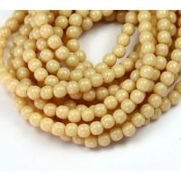 Opaque Light Beige Czech Glass Beads, 4mm Round