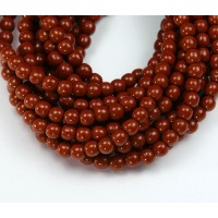 Umber Brown Czech Glass Beads, 4mm Round