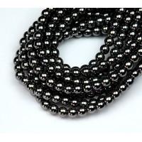 Hematite Czech Glass Beads, 4mm Round