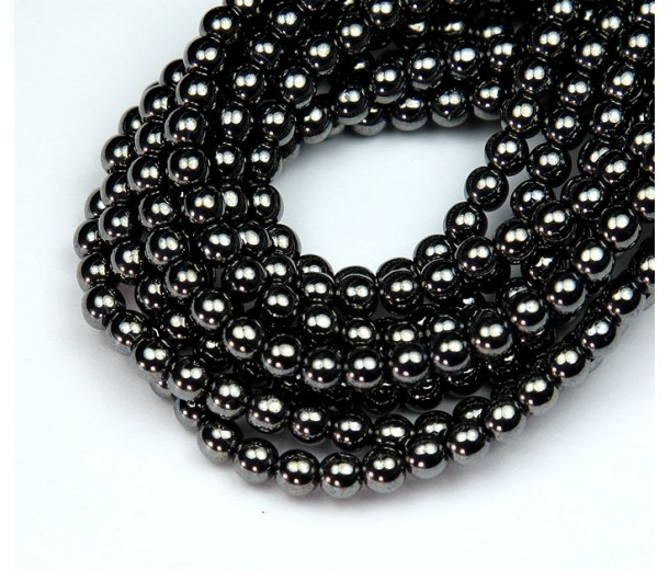 Hematite Czech Glass Beads, 4mm Round