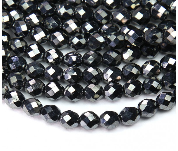 Hematite Czech Glass Beads, 8mm Faceted Round