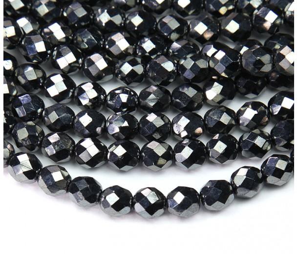 Hematite Czech Glass Beads, 8mm Faceted Round