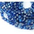 Capri Silver Coated Czech Glass Beads, 5mm Melon Round