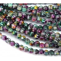 Gold Peacock Marea Czech Glass Beads, 5mm Melon Round