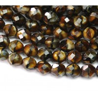Chroust Brown Czech Glass Beads, 8mm Faceted Round