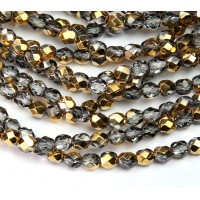 Gold Half Plated Czech Glass Beads, 6mm Faceted Round