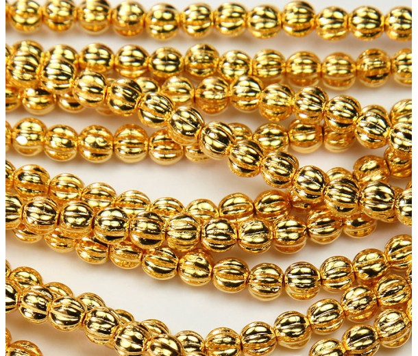 24K Gold Plated Czech Glass Beads, 5mm Melon Round