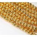 24K Gold Plated Czech Glass Beads, 5mm Melon Round