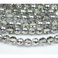 Silver Half Plated Czech Glass Beads, 8mm Round