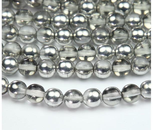 Silver Half Plated Czech Glass Beads, 8mm Round
