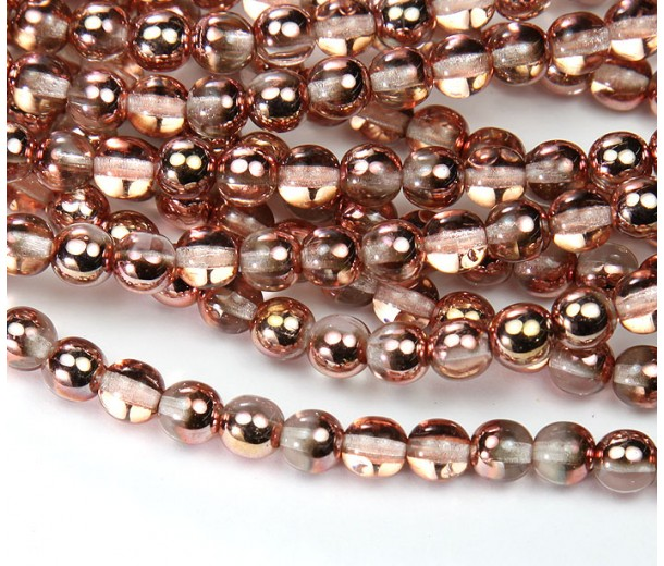 Apollo Gold Czech Glass Beads, 6mm Round