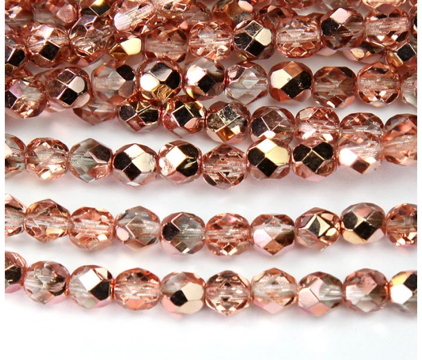 Apollo Gold Czech Glass Beads, 6mm Faceted Round