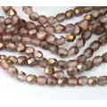 Matte Apollo Gold Czech Glass Beads, 6mm Faceted Round