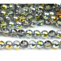 Marea Crystal Half Plated Czech Glass Beads, 8mm Round