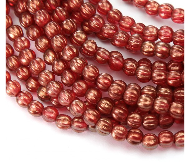 Cardinal Halo Czech Glass Beads, 5mm Melon Round