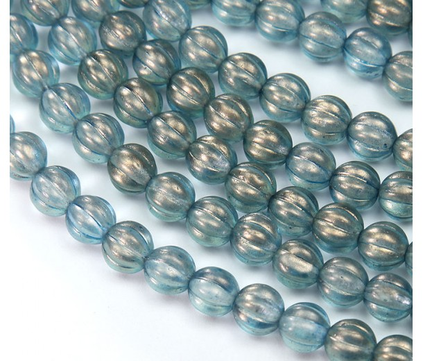 Shadows Halo Czech Glass Beads, 8mm Melon Round