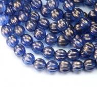 Ultramarine Halo Czech Glass Beads, 8mm Melon Round