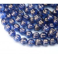 Ultramarine Halo Czech Glass Beads, 8mm Melon Round