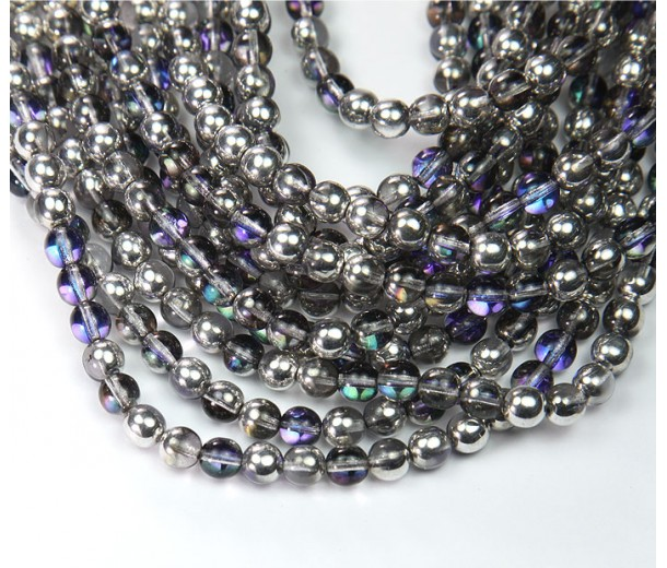 Silver, Blue and Crystal Czech Glass Beads, 6mm Round