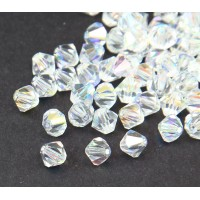 Crystal AB Czech Crystal Beads, 6mm Faceted Bicone, Pack of 20