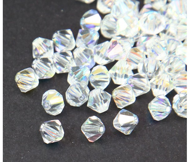 Crystal AB Czech Crystal Beads, 6mm Faceted Bicone