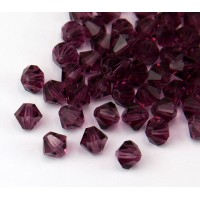 Amethyst Czech Crystal Beads, 6mm Faceted Bicone