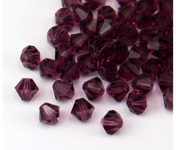 Amethyst Czech Crystal Beads, 6mm Faceted Bicone, Pack of 20