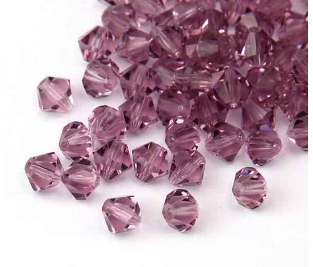 Light Amethyst Czech Crystal Beads, 6mm Faceted Bicone, Pack of 20