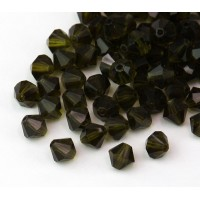Olivine Czech Crystal Beads, 6mm Faceted Bicone