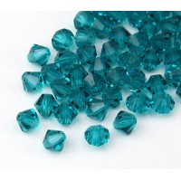 Blue Zircon Czech Crystal Beads, 6mm Faceted Bicone