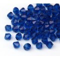 Capri Blue Czech Crystal Beads, 6mm Faceted Bicone, Pack of 20