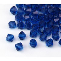 Capri Blue Czech Crystal Beads, 6mm Faceted Bicone