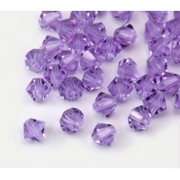 Violet Czech Crystal Beads, 6mm Faceted Bicone